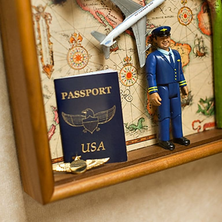 Shadowbox with passport airplane pilot
