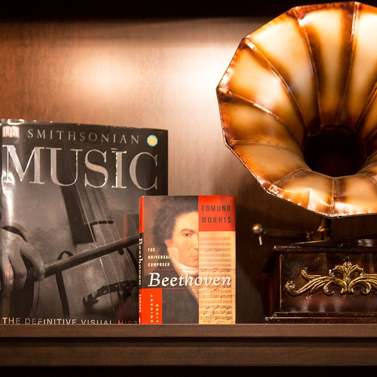 Music book and record player