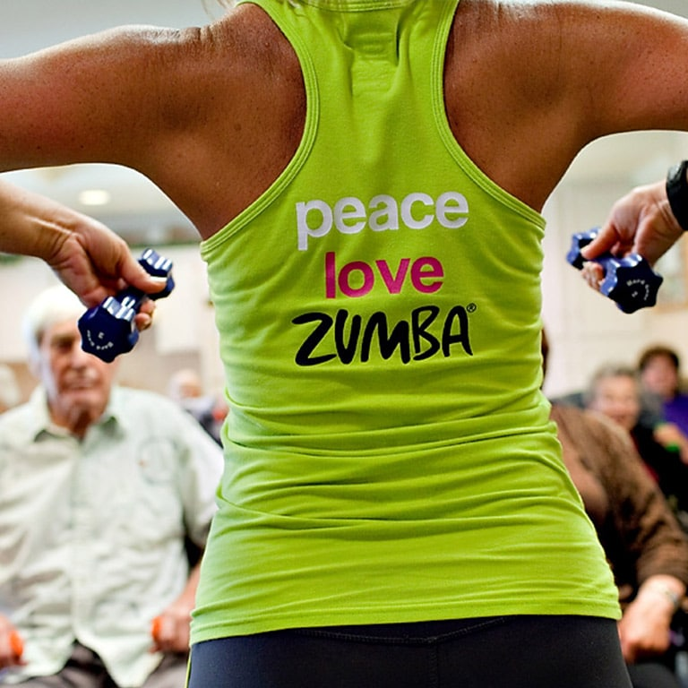 fitness trainer in peace. love. Zumba. tank top