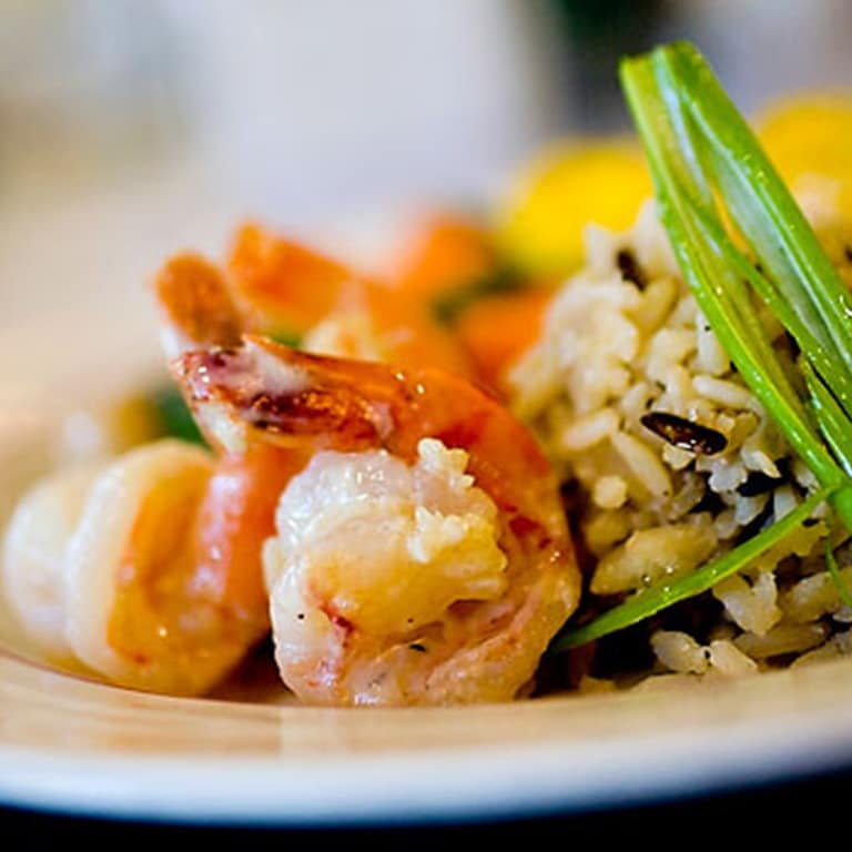 Shrimp on plate with rice