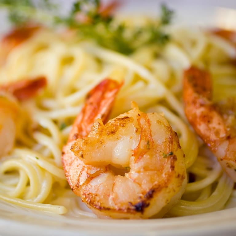 Shrimp on a plate with noodles