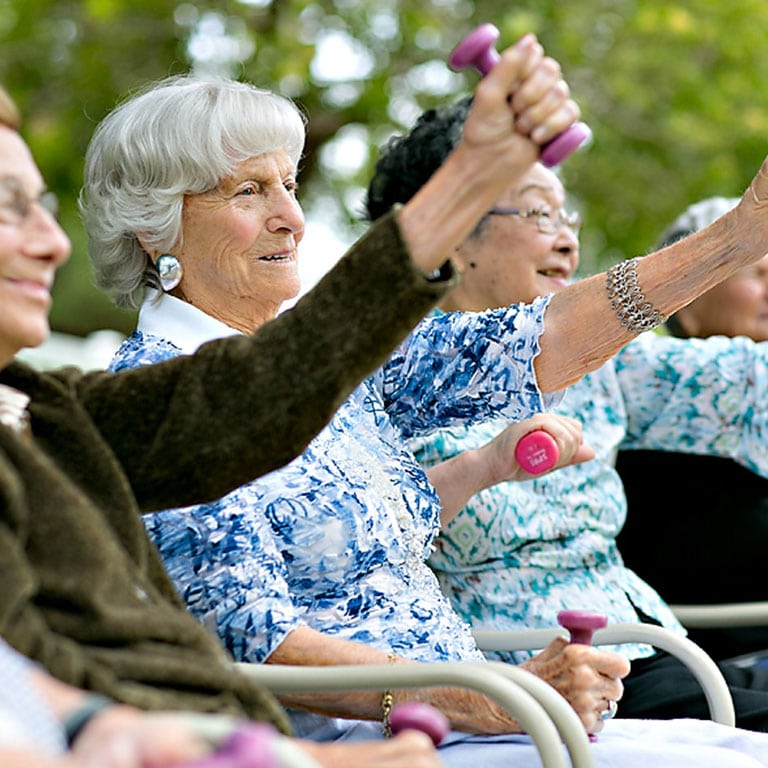 a group of seniors holding weights
