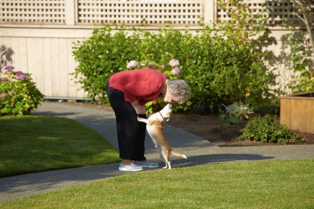 dog kissing woman outside
