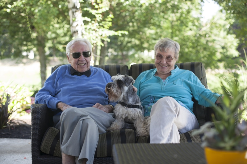 Redmond Residents On Patio With Dog | Redmond