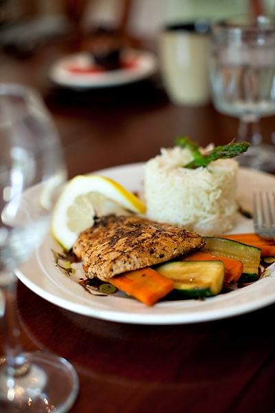 Food Plate Of Chicken Rice Vegetables   Shoreline
