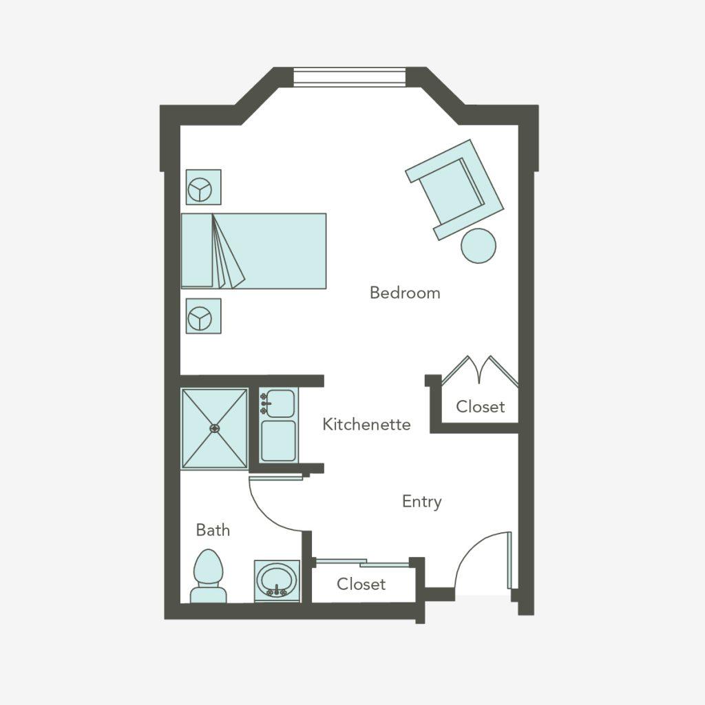 Aegis Living at Callahan House deluxe studio floorplans
