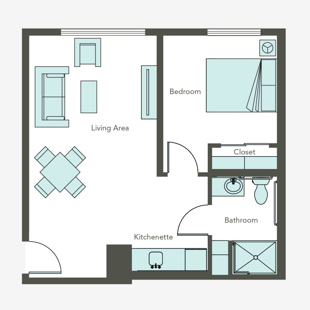 Aegis Living of Queen Anne at Galer 1 bedroom floorplan