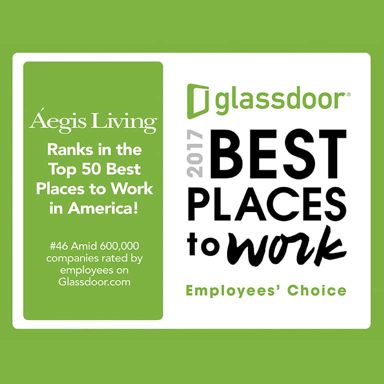 Aegis Living top 50 places to work in America by Glassdoor
