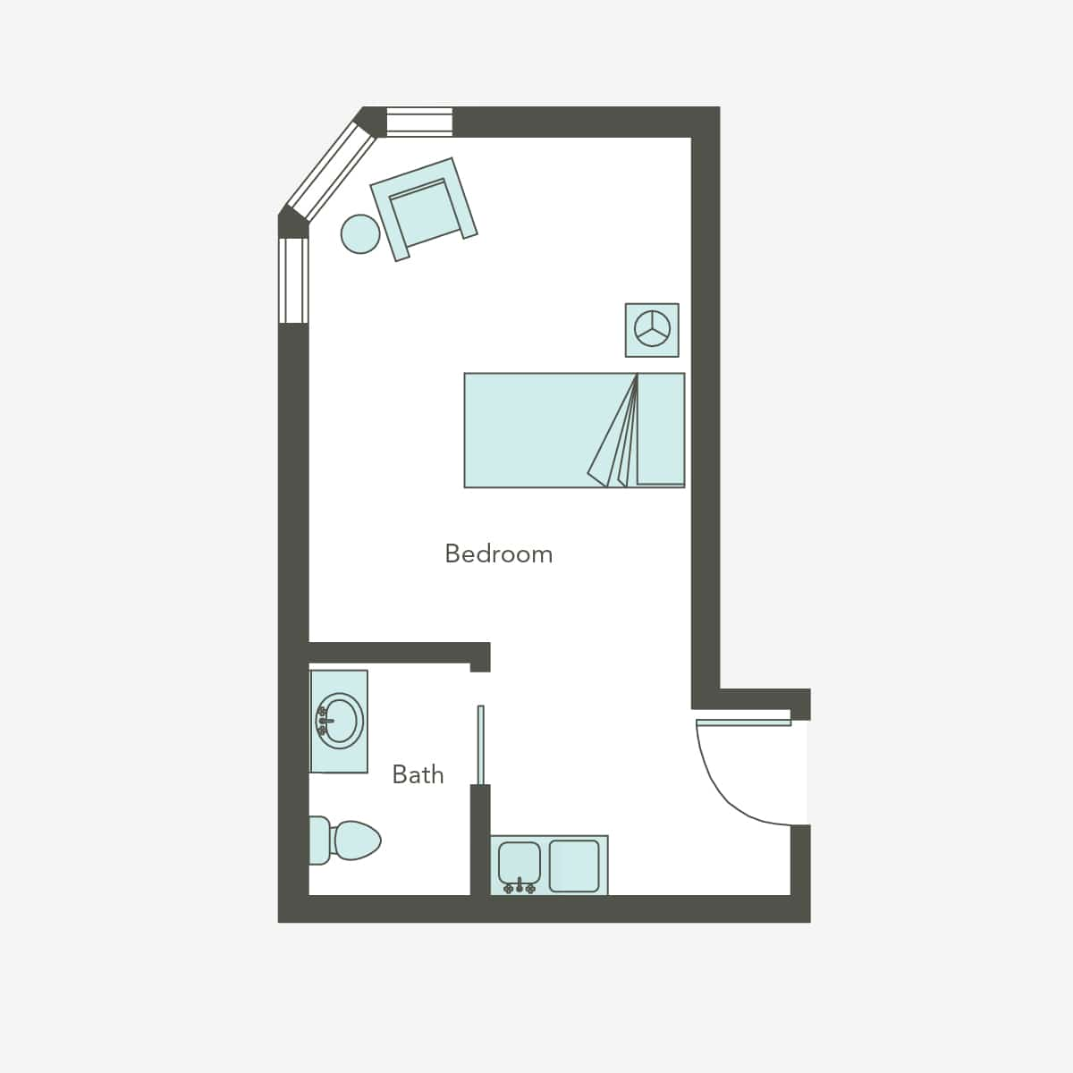 Assisted Living Studio Floorplan