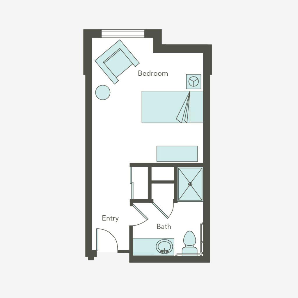 Memory care studio apartment floorplan for Aegis of Las Vegas
