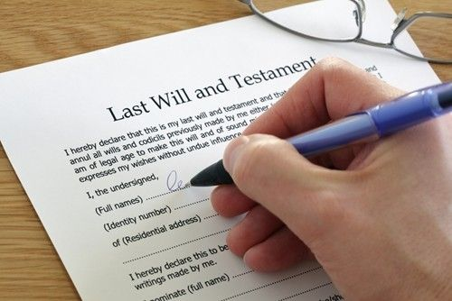close up of a last will document.
