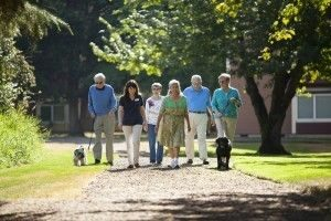 Group of Aegis of Redmond residents, staff and pets on a stroll