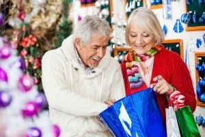 A senior couple holiday shopping