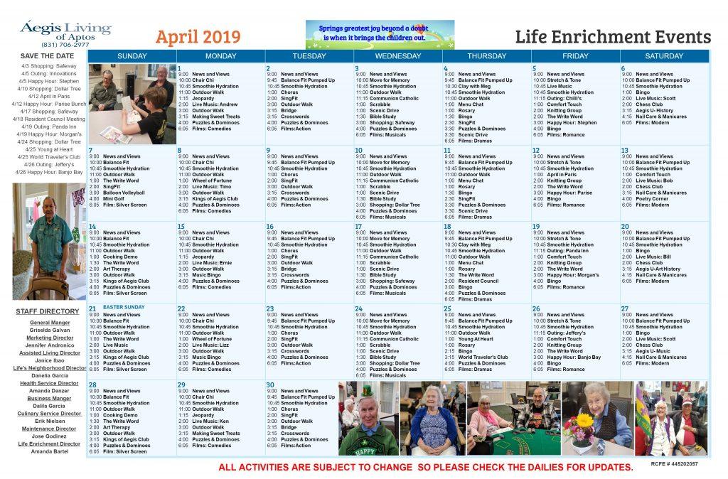 Aptos AL Calendar April 2019