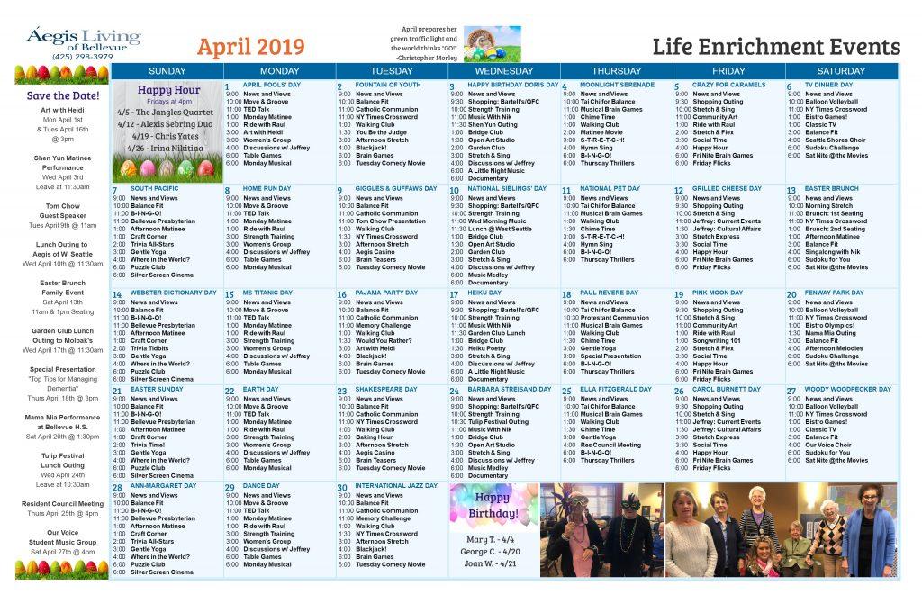 Bellevue AL Calendar April 2019