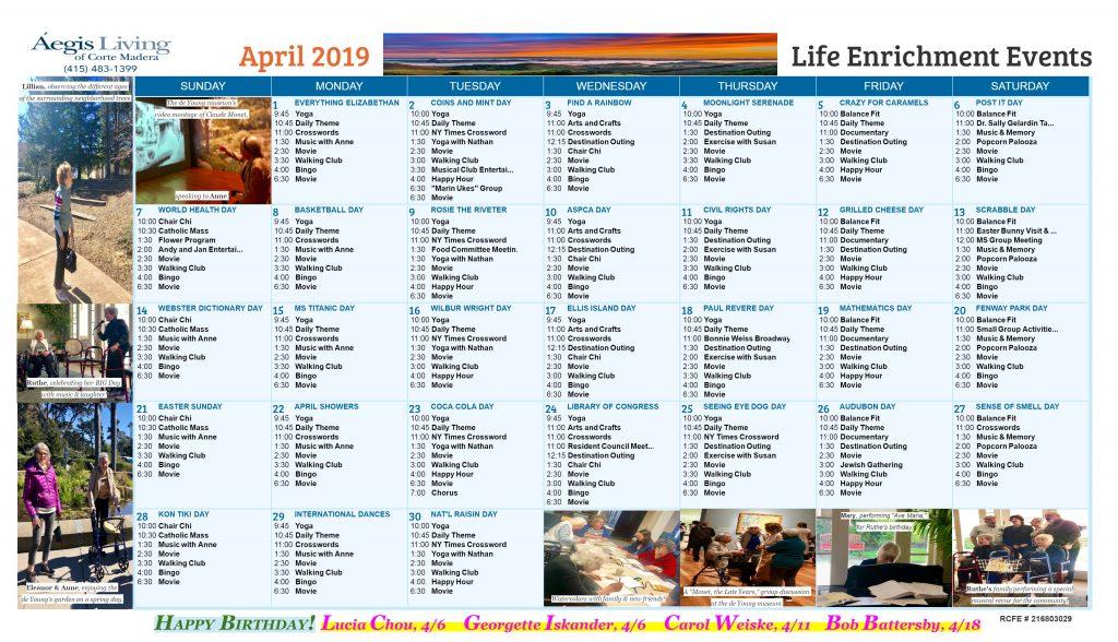 Corte Madera AL Calendar April 2019