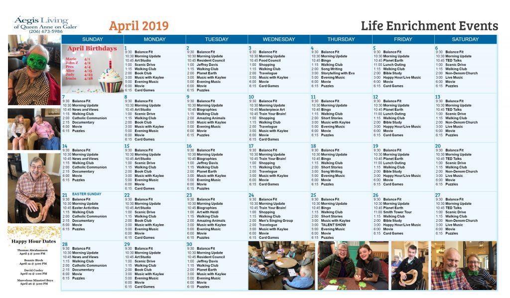 Galer AL Calendar - April 2019