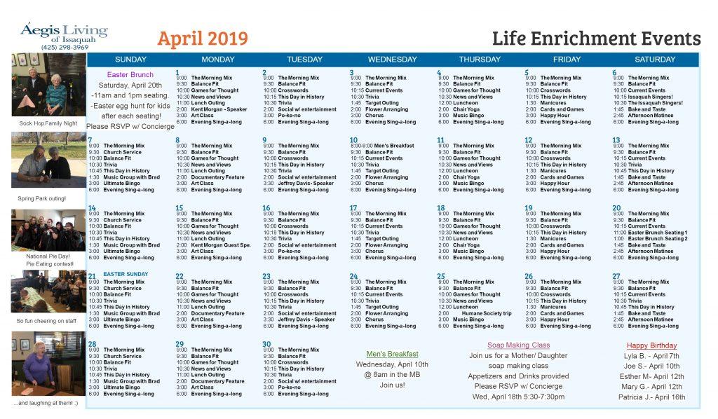 Issaquah AL Calendar- April 2019