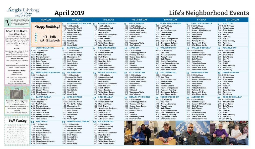 Kent LN Calendar- April 2019