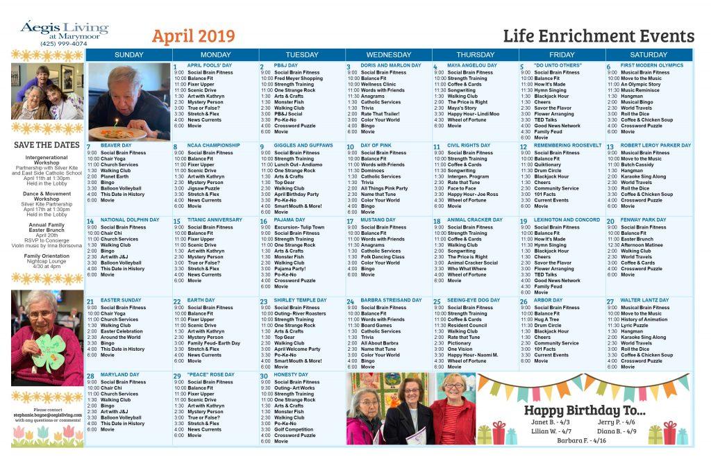 Marymoor AL Calendar - April 2019