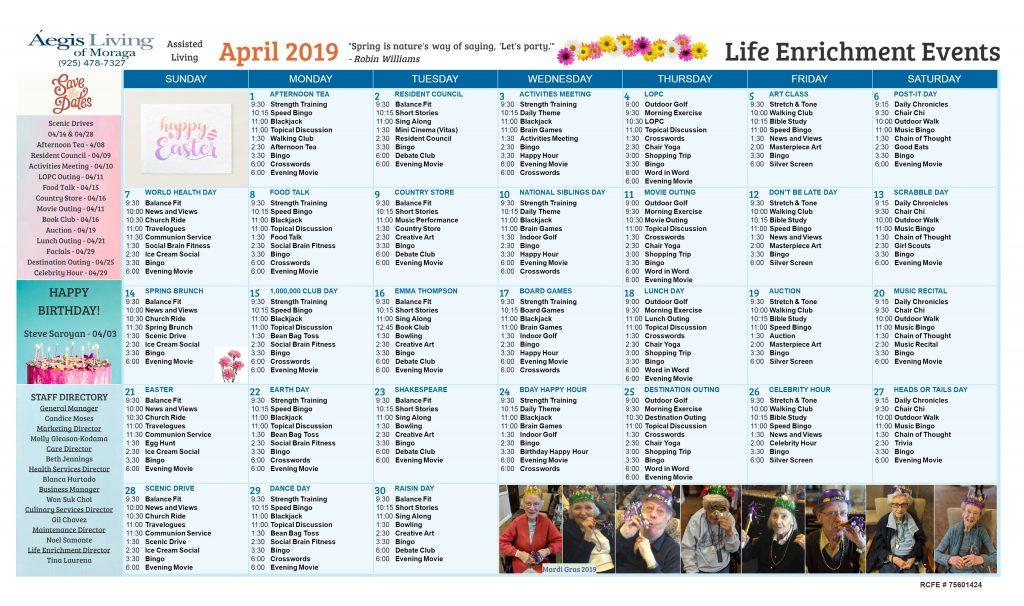 Moraga AL Calendar - April 2019