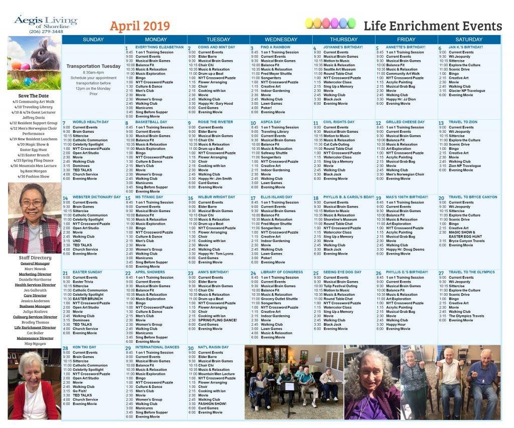 Shoreline AL Calendar - April 2019