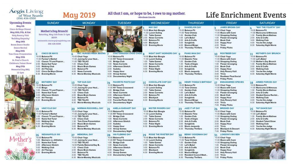 West Seattle AL Calendar-May 2019