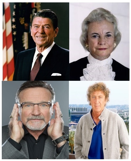 Sandra Day O'Connor, Robin Williams, Gene Wilder among other famous people