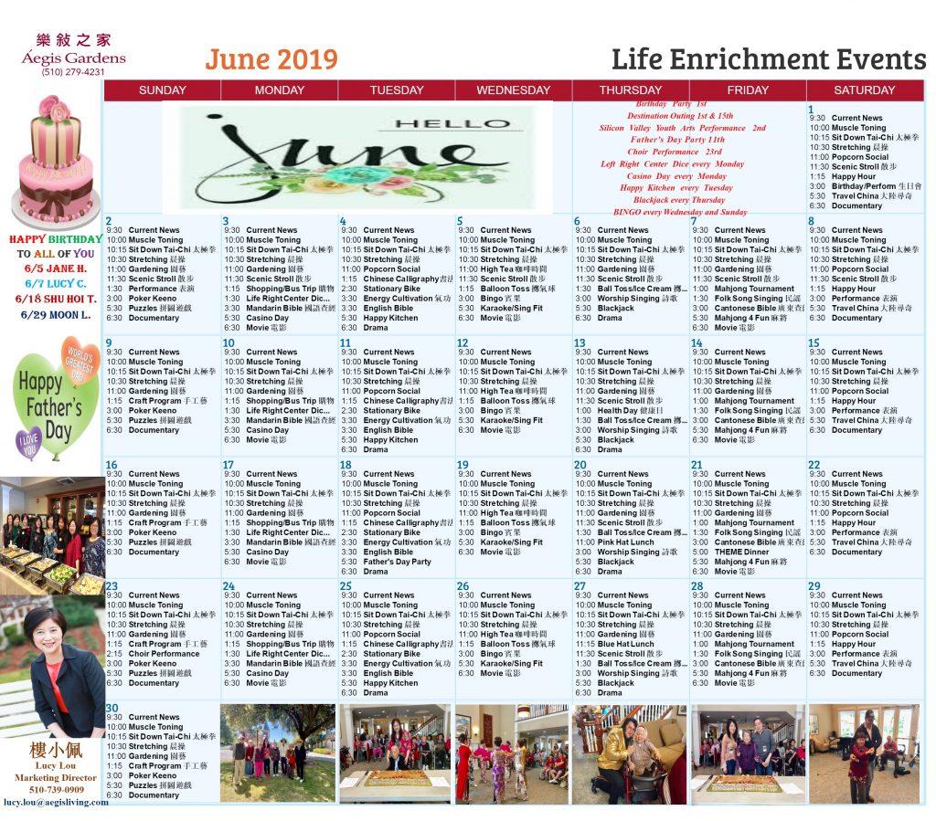Aegis Gardens AL June 2019 Calendar