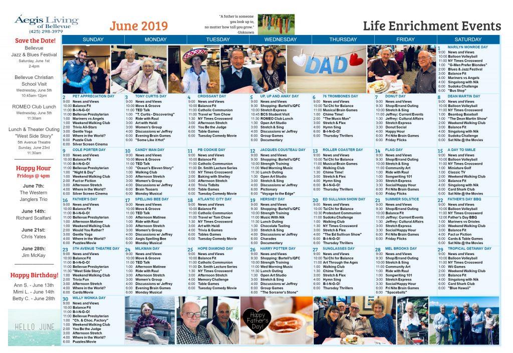 Bellevue AL Calendar June 2019