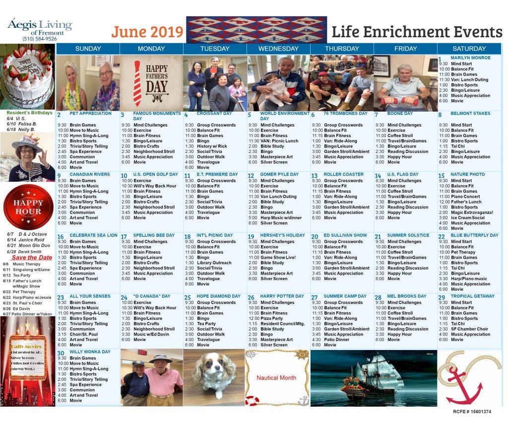 Fremont AL Calendar-June 2019