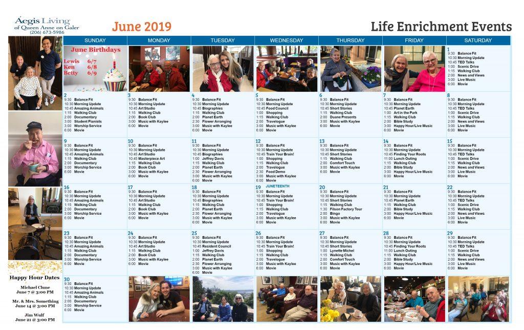 Galer AL Calendar - June 2019