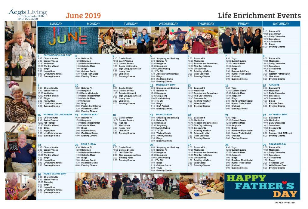 Granada Hills Calander 2019 June AL