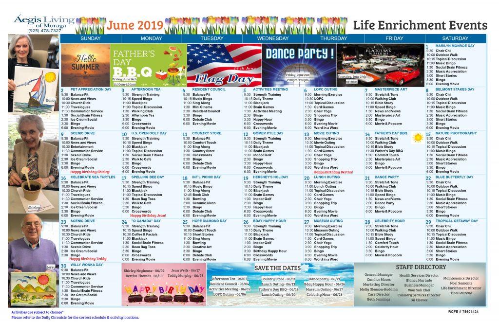 Moraga AL Calendar - June 2019