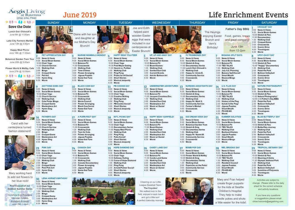 Ravenna AL Calendar- June 2019