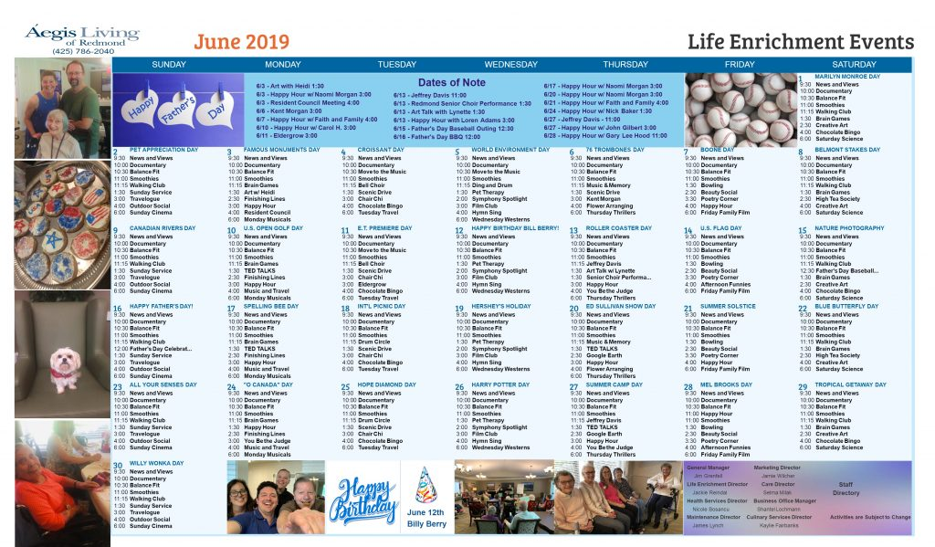 Redmond AL Calendar - June 2019