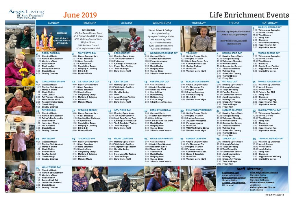 South San Francisco AL Calendar- June 2019