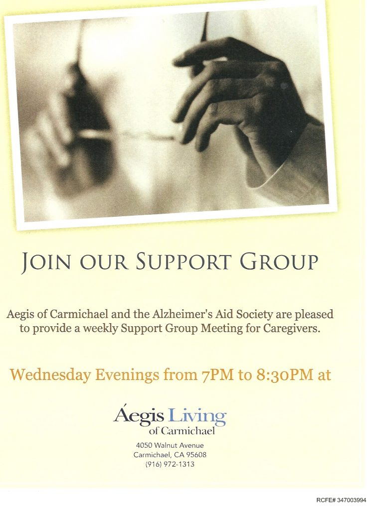 Join Our Support Group – Every Wednesday | Aegis Living