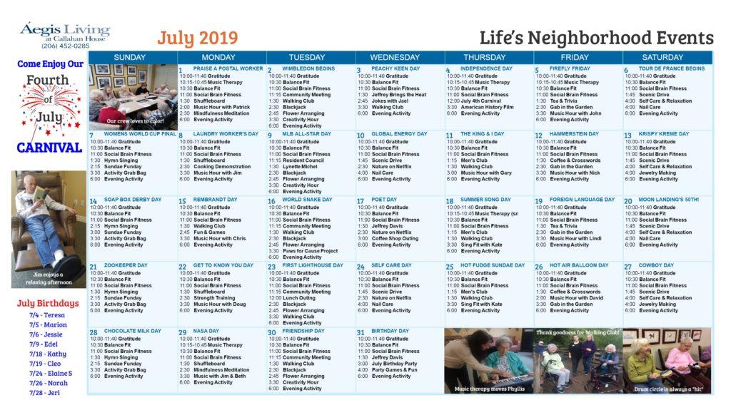 Callahan House LN Calendar - July 2019