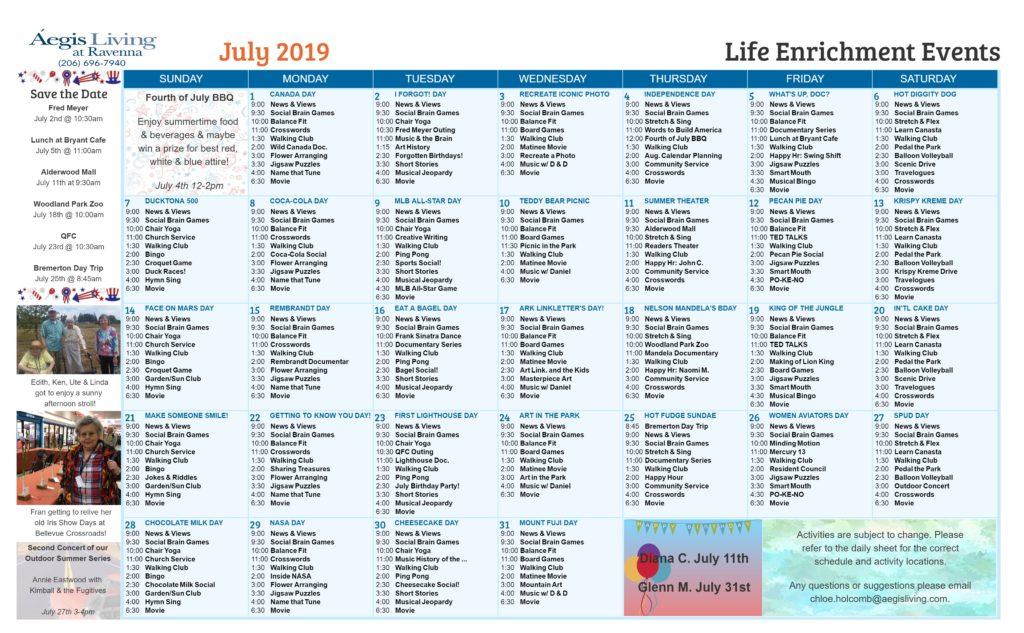 Ravenna AL Calendar- July 2019