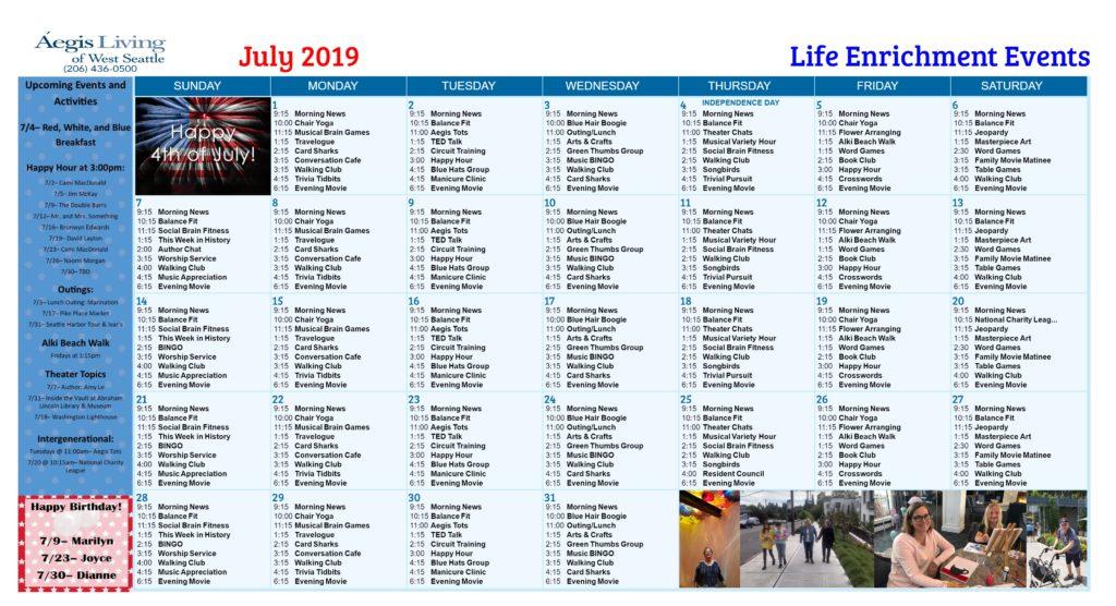 West Seattle AL Calendar- July 2019