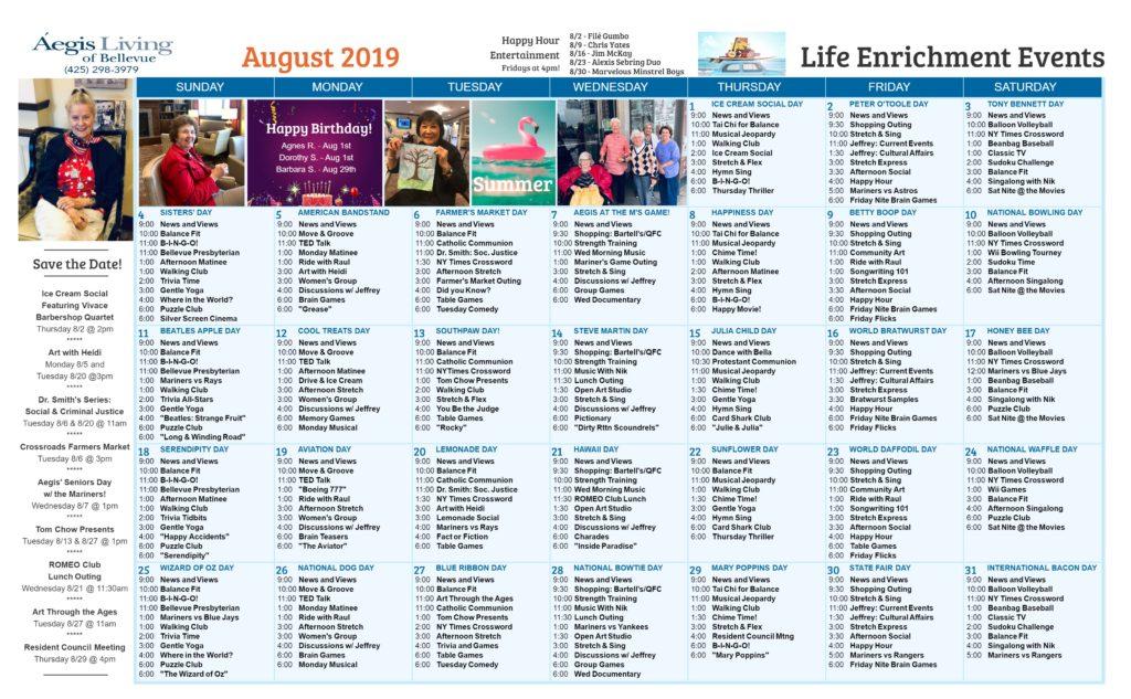Bellevue Calendar August 2019