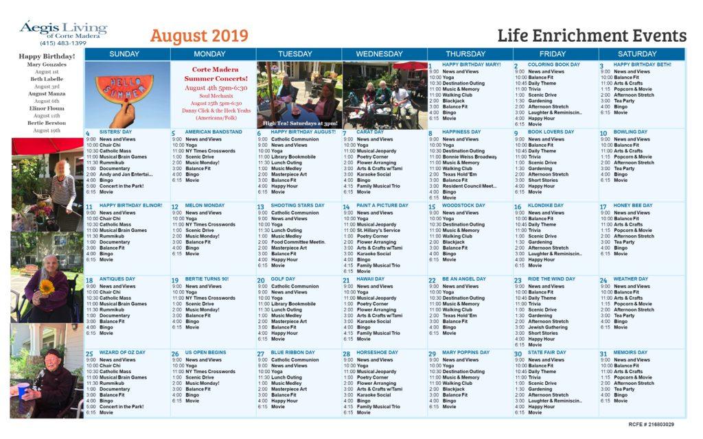 Corte Madera August 2019 Calendar