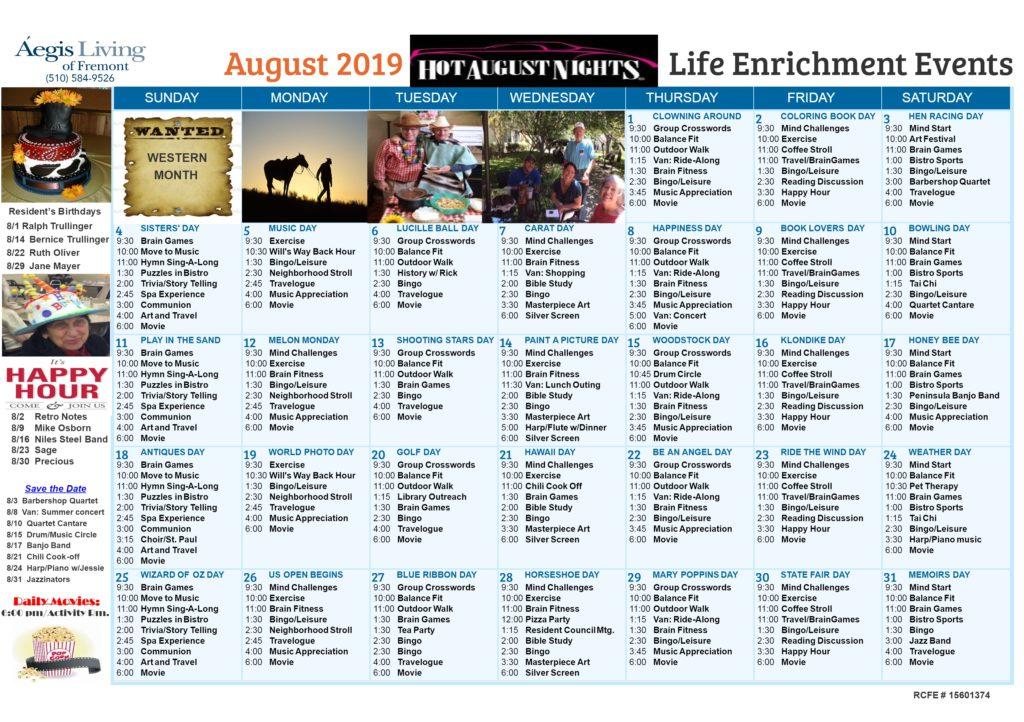 Fremont AL Calendar - August 2019