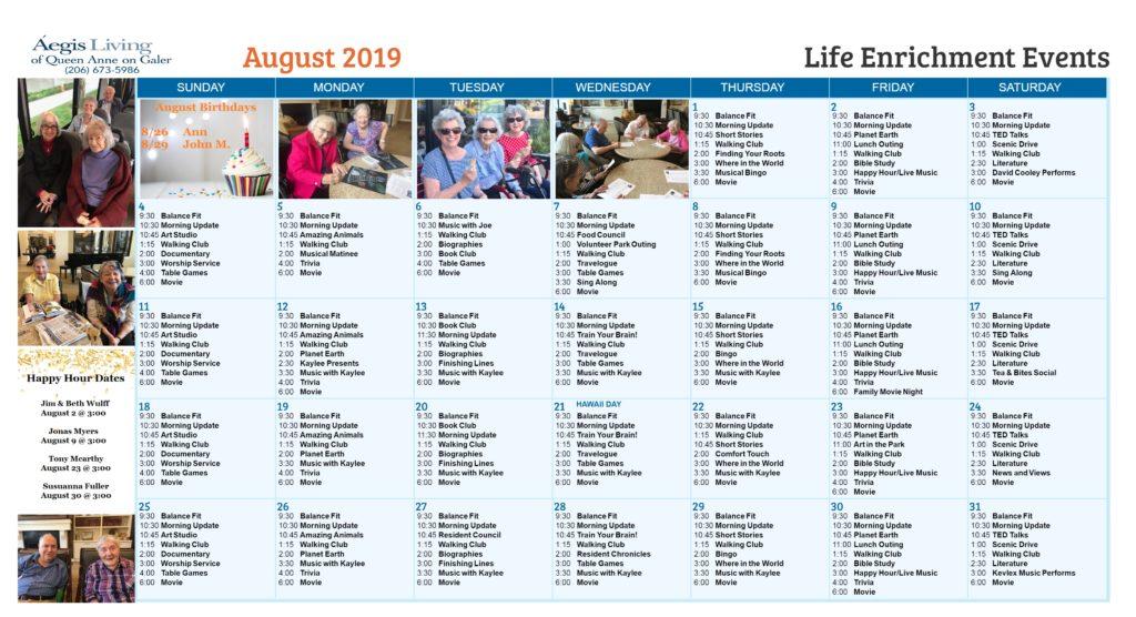 Galer Calendar - August 2019