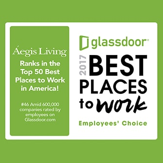 Aegis Living Ranks in the Top 50 Best Places to Work in America! glassdoor 2017 Best Places to Work Employees Choice Logo