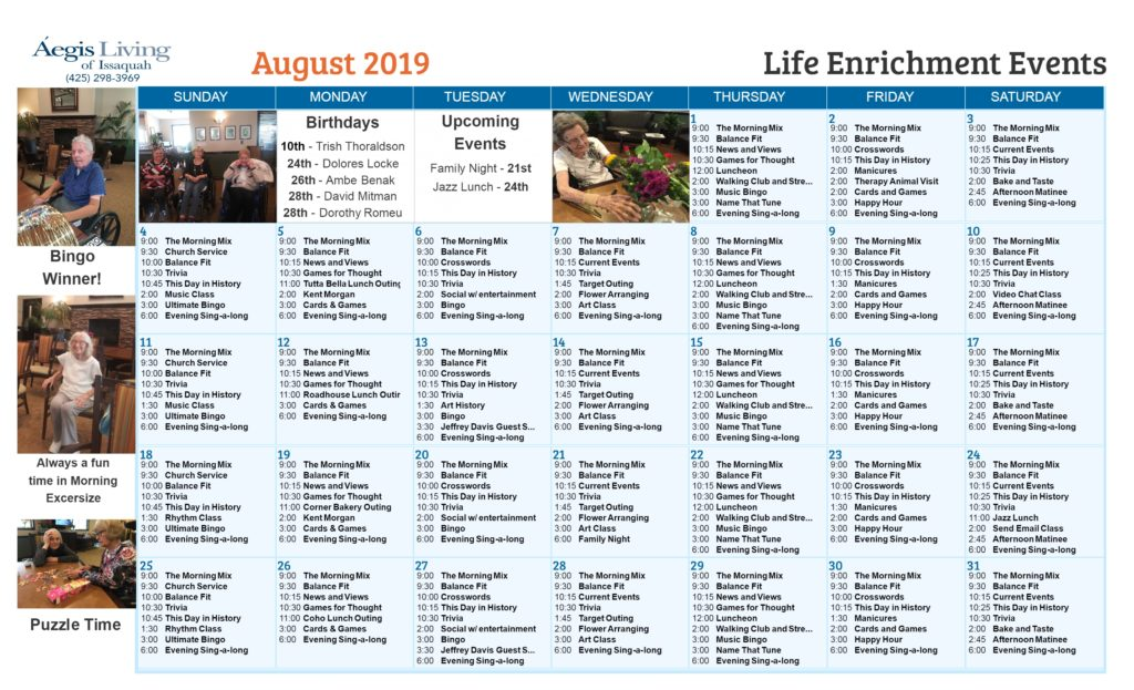Issaquah Calender August 2019