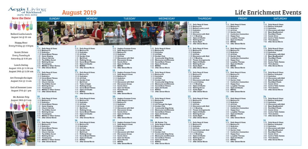 Kirkland Calendar August 2019