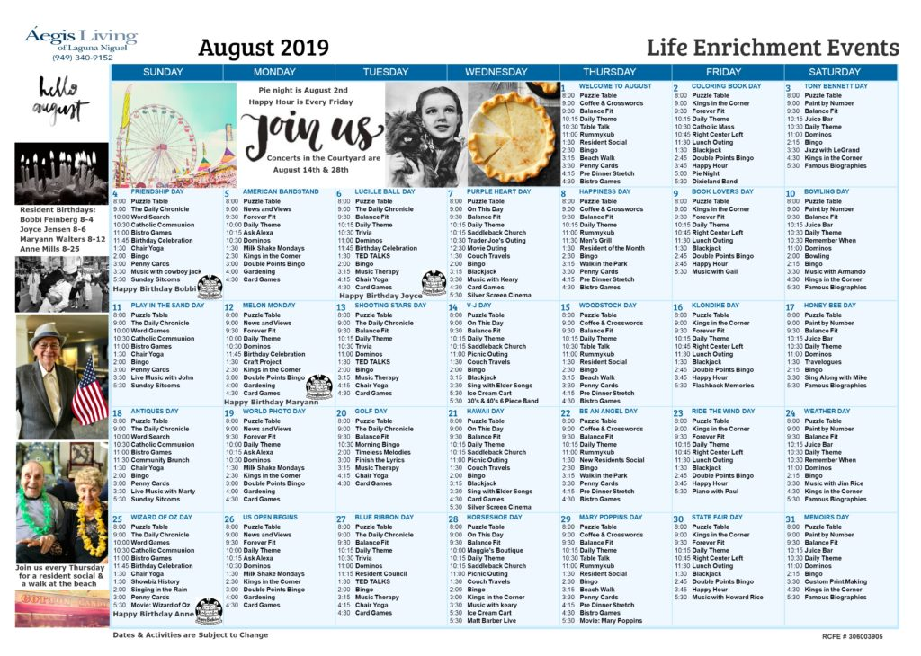 Laguna Niguel Calendar-August 2019