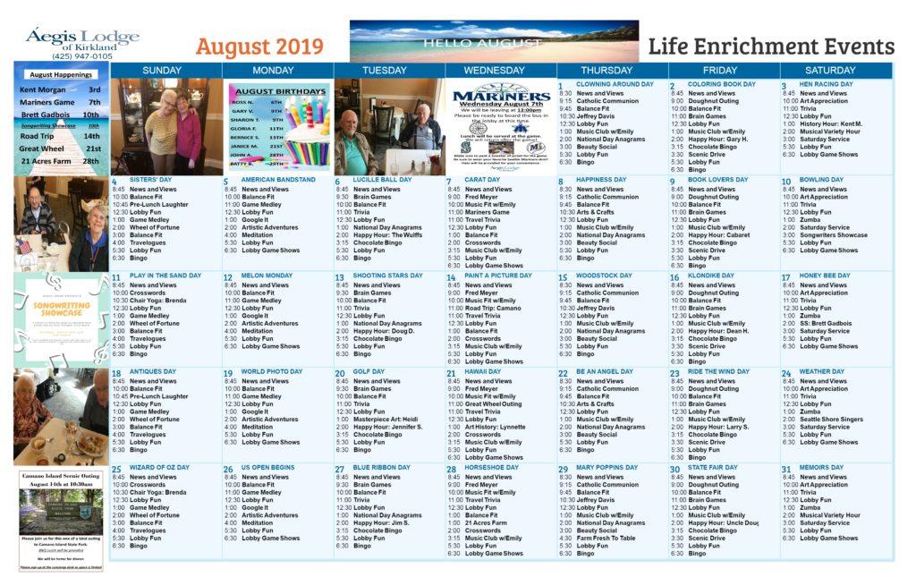 Aegis Lodge August Calendar